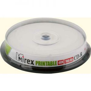 CD-R 700Mb Mirex 48X CakeBox 10шт. printable inkjet